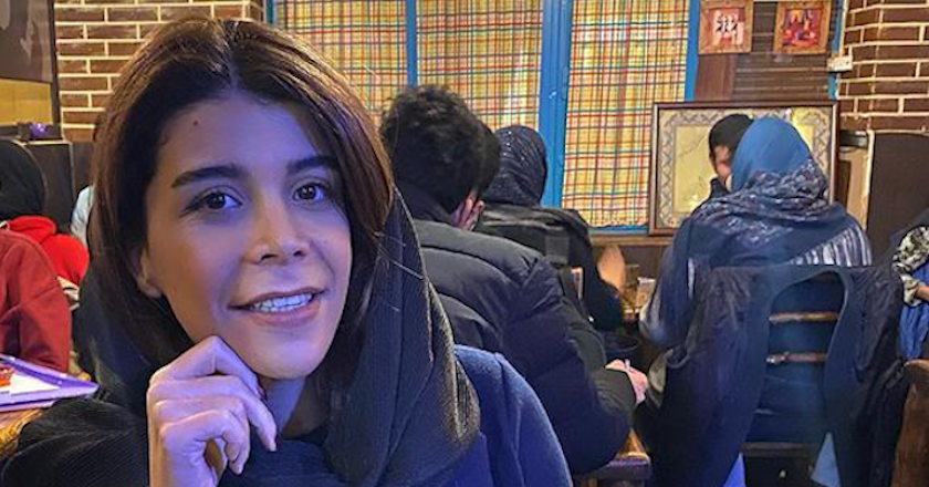 Fatemeh Kazerani in a cafe in Iran