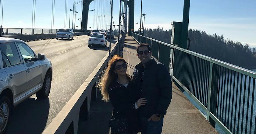 Mohammadhossein Saket and Fatemeh Kazerani on a bridge